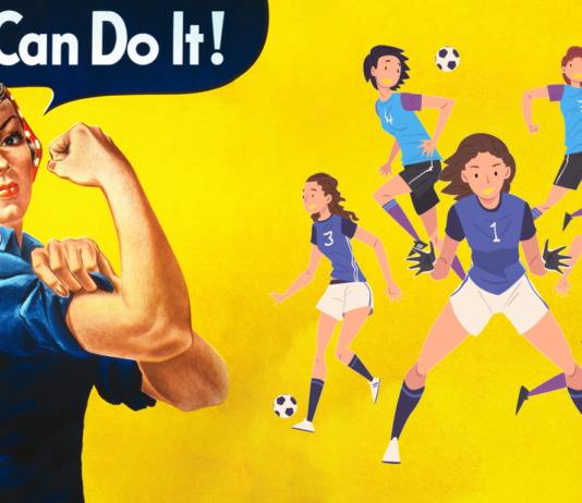 Rosie the Riveter and her soccer team- Women's Football beats Covid -19